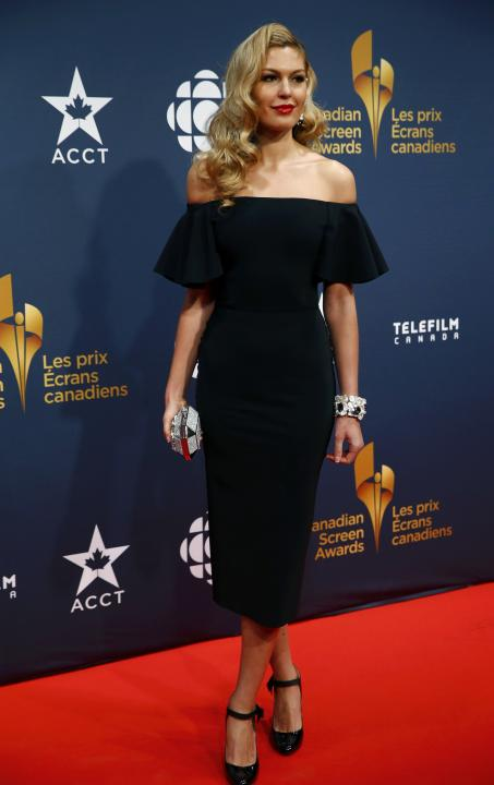 Actress and former Miss Universe Canada Elena Semikina arrives at the 2015 Canadian Screen Awards in Toronto