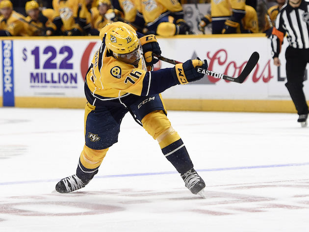 NASHVILLE, TN - OCTOBER 14: Newly acquired P.K. Subban #76 of the Nashville Predators follows through on a slap shot that would result in a power play goal against the Chicago Blackhawks at Bridgestone Arena on October 14, 2016 in Nashville, Tennessee. (Photo by Sanford Myers/Getty Images)