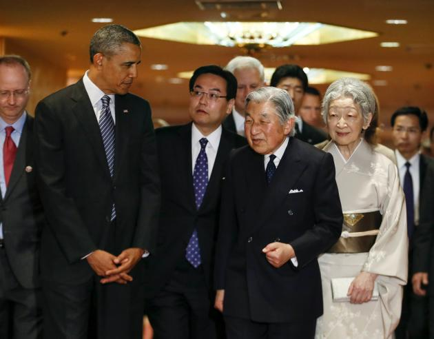U.S. President Barack Obama talks with Japan's Emperor Akihito and Empress Michiko in Tokyo