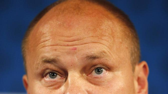 Finland's head coach Mixu Paatelainen attends a press conference at the Stade de France stadium in Saint Denis, north of Paris, Monday, Oct. 14, 2013, ahead of their 2014 World Cup Group I qualifying soccer match against France