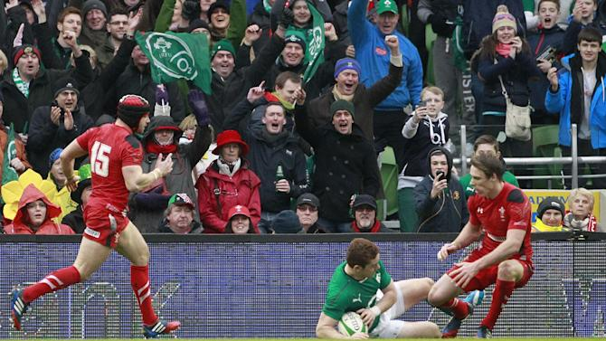 Ireland fans celebrate after Paddy Jackson, centre, scores a try against Wales during their Six Nations Rugby Union international match at the Aviva Stadium, Dublin, Ireland, Saturday, Feb. 8, 2014. (AP Photo/Peter Morrison)
