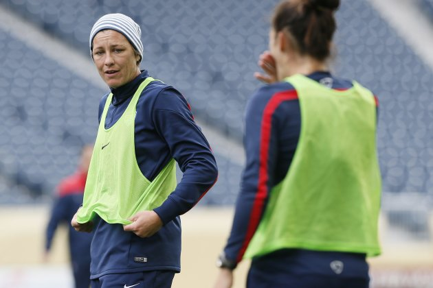 Team USA forward Abby Wambach takes a break during soccer practice in Winnipeg on Wednesday, May 7, 2014. Team USA faces Canada in a friendly match on Thursday, May 8 in Winnipeg. (AP Photo/The Canadian Press, John Woods)