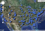 This map shows live events happening around the country to celebrate the landing of NASA's Curiosity rover on Mars on Aug. 5-6, 2012.