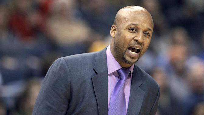 Denver Nuggets coach Brian Shaw shouts during the second half of an NBA basketball game against the Memphis Grizzlies in Memphis, Tenn., Saturday, Dec. 28, 2013. The Grizzlies defeated the Nuggets 120-99