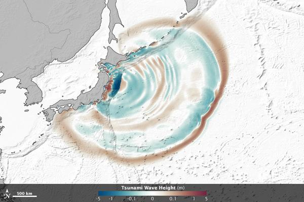 An image from an animation using satellite observations of the March 11 tsunami that shows how the waves of the tsunami were influenced by seafloor features. Wave peaks appear in red-brown, depressions in blue-green and ocean floor topography i