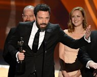 "Ben Affleck, who directed and starred in ""Argo"", wins the best film drama prize at the Screen Actors Guild awards on January 27, 2013 in Los Angeles, California. It was the second top prize in as many days for Affleck after his film won the Producers Guild of America award, a key bellwether for Oscars glory, on Saturday night"