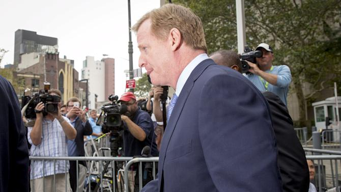 NFL Commissioner Goodell exits the Manhattan Federal Courthouse in New York