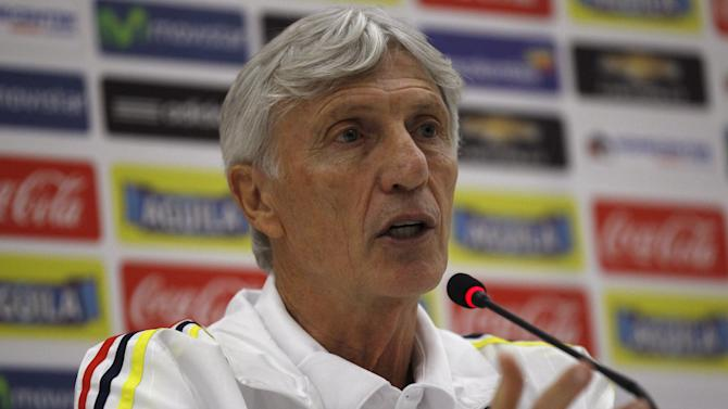 Colombia's national soccer coach Jose Pekerman gestures during a news conference in Barranquilla, Colombia