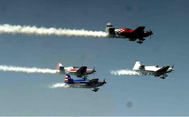 Allahabad: British Aerobatics Champions rehearse for upcoming Air Show and Gujarat Aero Conclave 2015 in Ahmedabad, on March 30, 2015. (Photo: IANS)