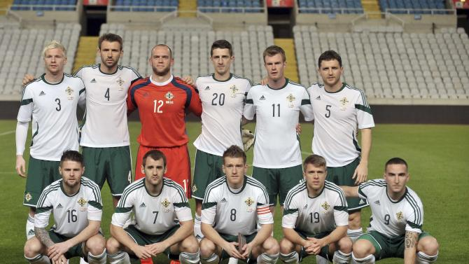 North Ireland's national soccer team players pose for a group photo before their match against Cyprus during their international friendly match at Gsp Stadium