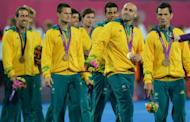 Australian men's field hockey team, seen here with their bronze medals after the podium ceremony at the London 2012 Olympic Games, on August 11. While New Zealanders celebrated one of their most successful Olympics ever, recriminations were underway in Australia which only finished 10th, down from sixth in Beijing, with just seven golds for its worst victory tally in 20 years