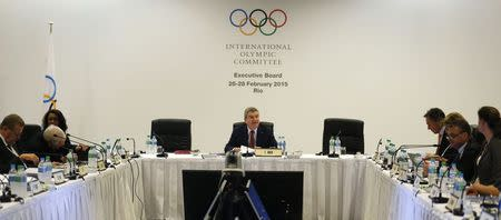 International Olympic Committee (IOC) President Bach speaks during the IOC Executive Board meeting in Rio de Janeiro