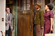 "In this theater image released by O+M Co., from left, Jeremy Shamos, Damon Gupton, and Crystal A. Dickinson are shown in a scene from ""Clybourne Park,"" at the Walter Kerr Theatre, in New York. (AP Photo/The O+M Co., Nathan Johnson Photography)"