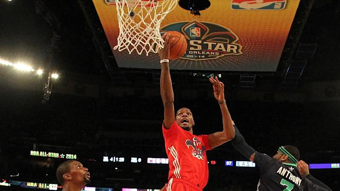 West Team's Kevin Durant, of the Oklahoma City Thunder (35) heads to the hoop against =Team East during the NBA All Star basketball game, Sunday, Feb. 16, 2014, in New Orleans
