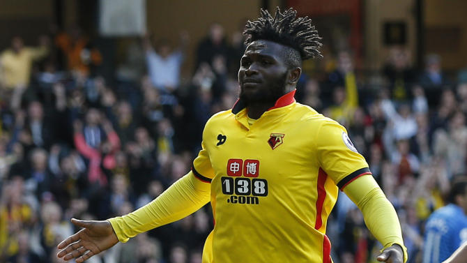 Watford's Isaac Success celebrates scoring their second goal
