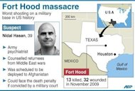 "Map of US military base Fort Hood. The attack jolted the US military and prompted calls for stronger safeguards against possible internal security threats and ""homegrown"" terror attacks"