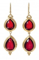Gold Pear Double-Drop Earrings in Red, $29.99