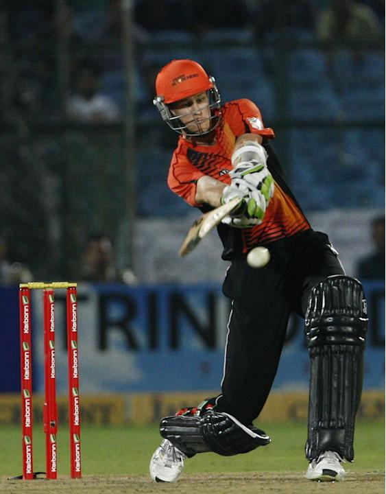 Perth Scorchers player in action against Rajasthan Royals during the CLT20 match at Sawai Mansingh Stadium, Jaipur on Sept. 29, 2013. (Photo: IANS)