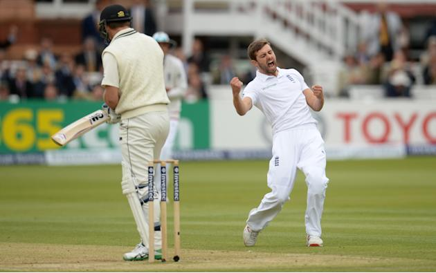 Cricket: England's Mark Wood celebrates after dismissing New Zealand's Corey Anderson