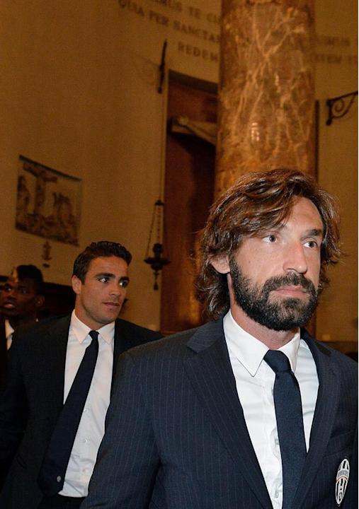 . Turin (Italy), 29/05/2015.- Juventus' player Andrea Pirlo arrives in the Church of the Great Mother of God in Turin, Italy, 29 May 2015, to take part in a commemoration mass marking the 30th ann