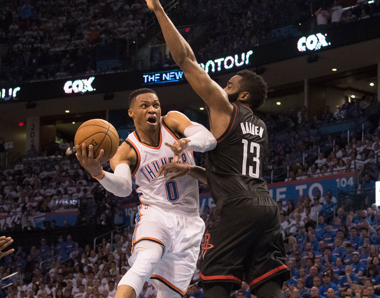 A more controlled Russell Westbrook got the better of James Harden's Rockets in Game 3. (Getty Images)