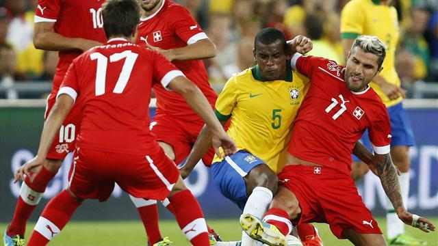 South American Football - Brazil's suspect temperament exposed in Swiss defeat