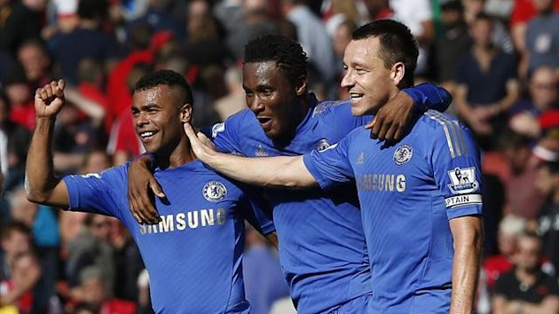 Chelsea's Ashley Cole, Jon Obi Mikel and John Terry celebrate their win against Arsenal
