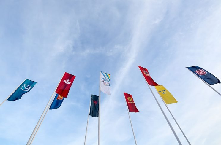 TORONTO, ON - SEPTEMBER 16: Team flags at the opening ceremonies during the World Cup of Hockey 2016 at the Scotiabank Fan Village on September 16, 2016 in Toronto, Ontario, Canada. (Photo by Andre Ringuette/World Cup of Hockey via Getty Images)