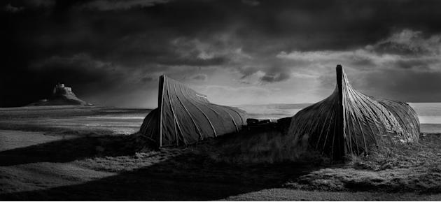 """Lindisfarne, Northumberland: David Byrne's said his captivating image, which was the overall winner, was taken because """"I love monochrome landscapes and Britain has some of the best landscapes you can"""