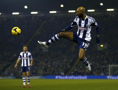 West Bromwich Albion's Nicolas Anelka controls the ball during their English Premier League soccer match against Everton at The Hawthorns in West Bromwich
