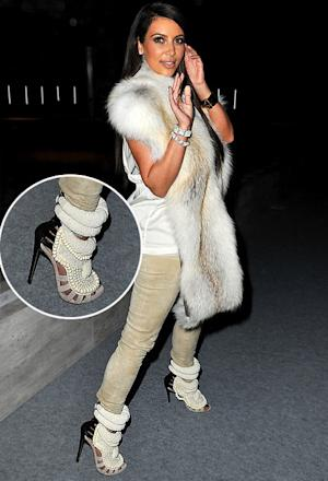 Kim Kardashian Wears Fur Vest, $6,000 Pearl Shoes Designed by Kanye West