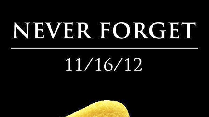 "This undated image shows ""Never Forget,'' one of the most recent of dozens of pieces of art Nancy Peppin has created over the years using Twinkies and other Hostess products. A graphic artist by day for slot machine-maker International Game Technology, Peppin doesn't like to eat Twinkies. She uses them to depict popular culture similar to Any Warhol. (AP Photo/Courtesy Nancy Peppin)"