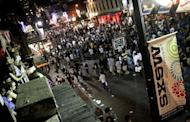 The crowds at night on 6th Street during SXSW 2011 in Austin, Texas