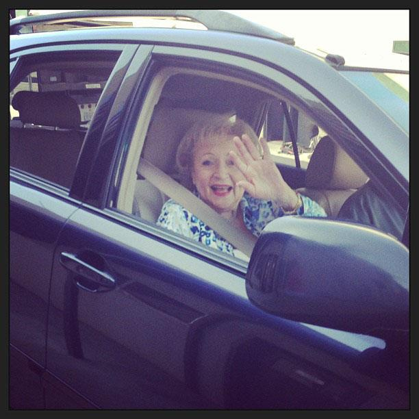 Betty White Yahoo! TV Instagram: Going home after a great day on set! And what I do next is my little secret! -Betty #bettywhite #hotlive #hotincleveland #tvland