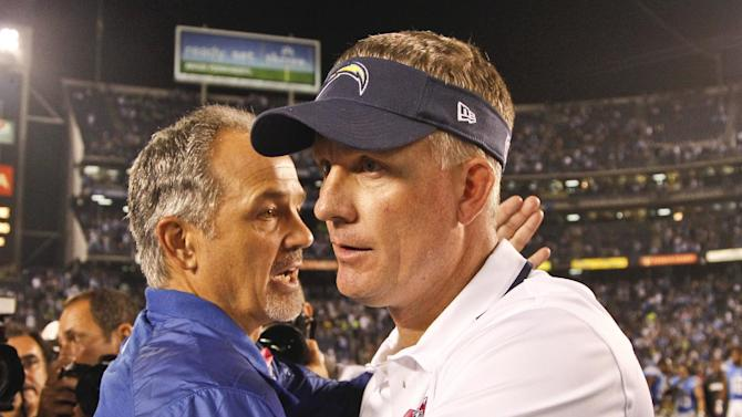 Indianapolis Colts coach Chuck Pagano, left, and San Diego Chargers coach Mike McCoy congratulate each other after the Chargers' 19-9 victory in a NFL football game Monday, Oct. 14, 2013, in San Diego