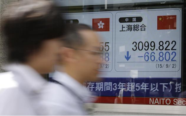 People walk past an electronic stock board of a securities firm showing Shanghai Index in Tokyo Wednesday, Sept. 2, 2015. Asian stocks extended a global market sell-off Wednesday as poor manufacturing