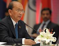 Myanmar President Thein Sein speaks during a joint ASEAN-India summit in New Delhi, on December 20, 2012. Myanmar has announced an end to a military offensive against ethnic minority rebels in the northern state of Kachin in the face of growing international concern