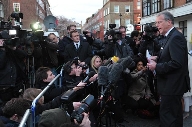 King Edward VII Hospital Chief Executive John Lofthouse (R) speaks to the media in London. A nurse at the hospital, which treated Prince William's pregnant wife Catherine, was found dead in a suspected suicide on Friday, days after being duped by a hoax call from an Australian radio station