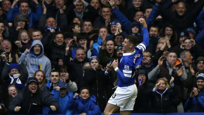 Everton's Barkley celebrates after scoring during their English Premier League soccer match against Swansea City at Goodison Park