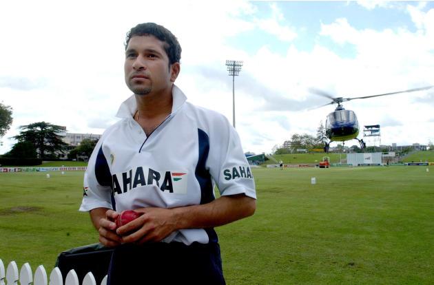 India medium pace bowler Sachin Tendulkar looks on