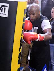 Boxer Floyd Mayweather Jr. works out at the Mayweather Boxing Club on April 17, 2013 in Las Vegas, Nevada. Mayweather Jr. will fight Robert Guerrero for the WBC welterweight title at the MGM Grand Garden Arena on May 4, 2013