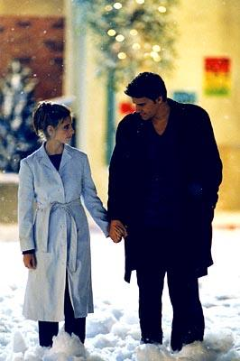 Sarah Michelle Gellar as Buffy and David Boreanaz as Angel on Buffy The Vampire Slayer