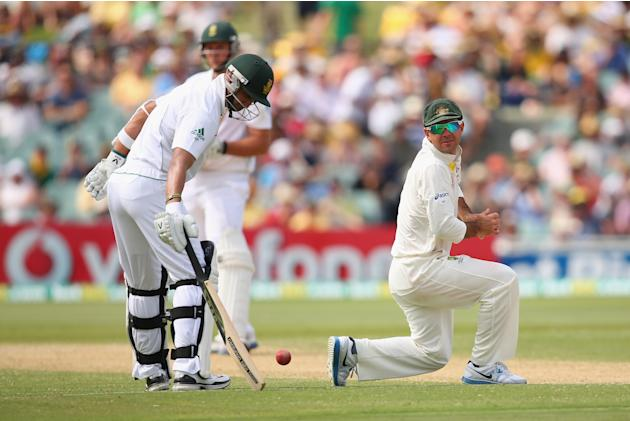 ADELAIDE, AUSTRALIA - NOVEMBER 23: Ricky Ponting of Australia attempts to stop the ball during day two of the Second Test match between Australia and South Africa at Adelaide Oval on November 23, 2012