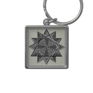 Geometric Sun Key Chain