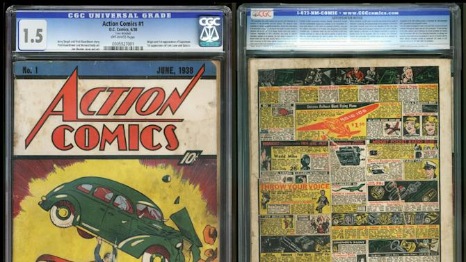 "FILE - In this file image provided by Metropolis Collectibles/ComicConnect, Corp., shows the front and back cover of ""Action Comics No. 1"" from 1938, featuring the debut of Superman. The rare copy of the comic book featuring Superman's first appearance that went undiscovered for over 70 years in the insulation of a Minnesota house has sold for $175,000. (AP Photo/Metropolis Collectibles, Inc./ComicConnect, Corp.)"
