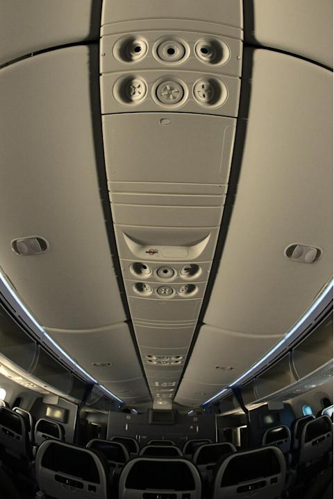 The interior of the American Airlines' first Boeing 787 Dreamliner at O'Hare International Airport, Thursday, May 7, 2015, in Chicago. A company official said, American Airlines launched 787 D