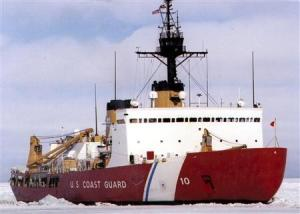 Polar Bear, the U.S. Coast Guard icebreaker, works the ice channel near McMurdo, Antarctica