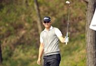 Bernd Wiesberger of Austria plays at the Blackstone Golf Club during the Ballantine's Championship in Seoul on April 28. Wiesberger was within a round of claiming his maiden European Tour victory after running away with the lead