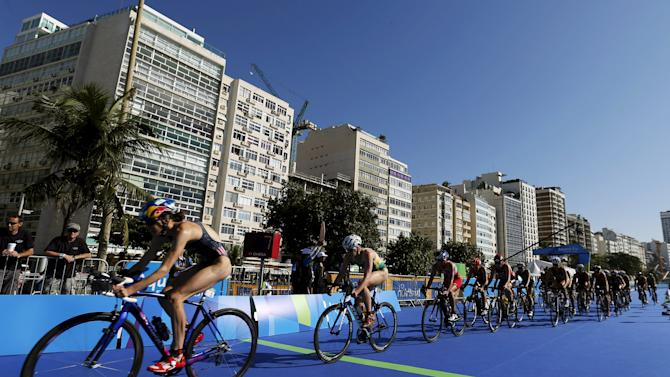 General view during the cycling portion of the women's triathlon at the ITU World Olympic Qualification event on Copacabana beach in Rio de Janeiro