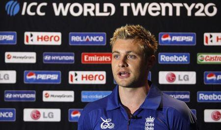 FILE PHOTO - England's Wright speaks to reporters during a news conference ahead of the World Twenty20 cricket series in Colombo